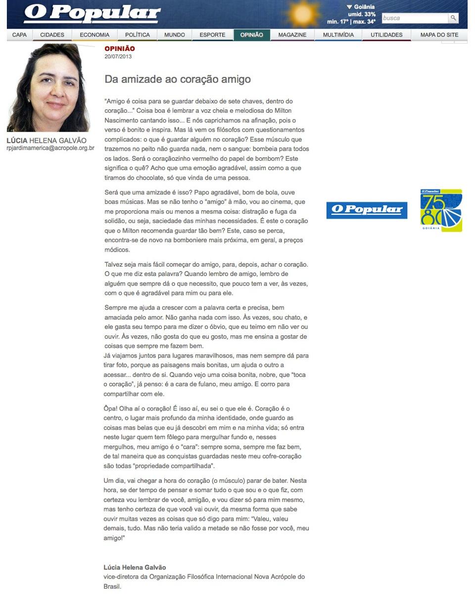 Artigo da professora Lúcia Helena no jornal O Popular